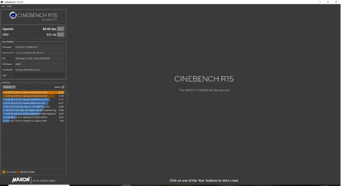 RedmiBook 14 sul test CINEBENCH R15