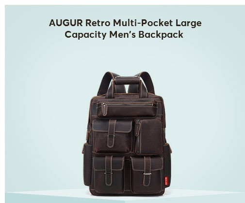 AUGUR Retro Multi-Pocket Large Capacity Men's Backpack