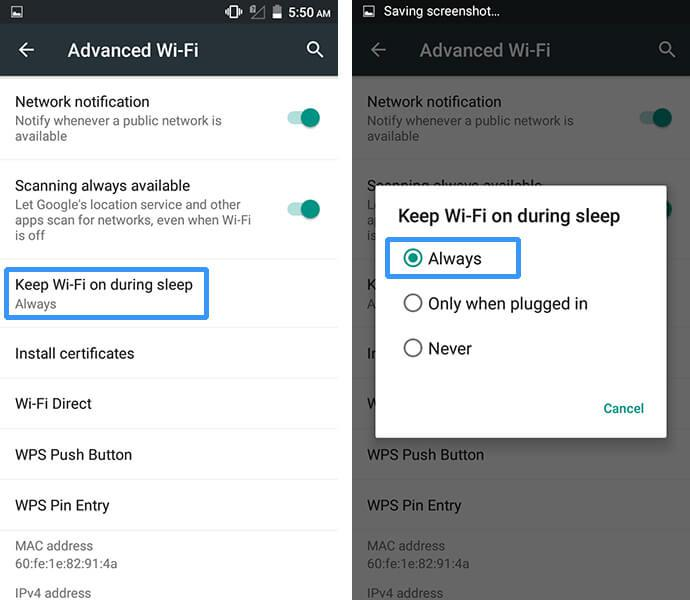 keep WiFi on during sleep