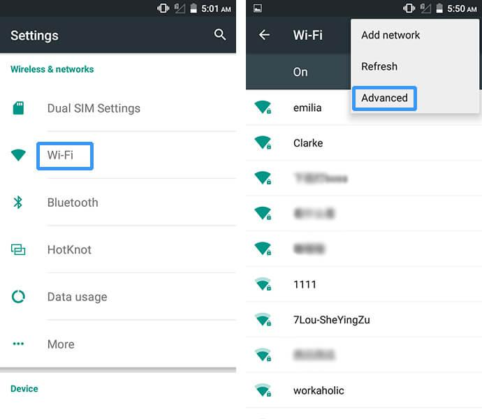 Cubot Note S WiFi setting