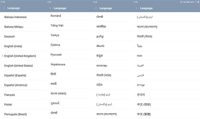 Xiaomi Redmi Note 4 supports languages