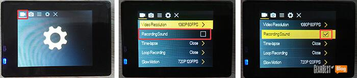 Check sound settings of Elephone Explorer action camera