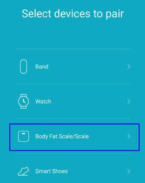 select body fat scale on Mi Fit