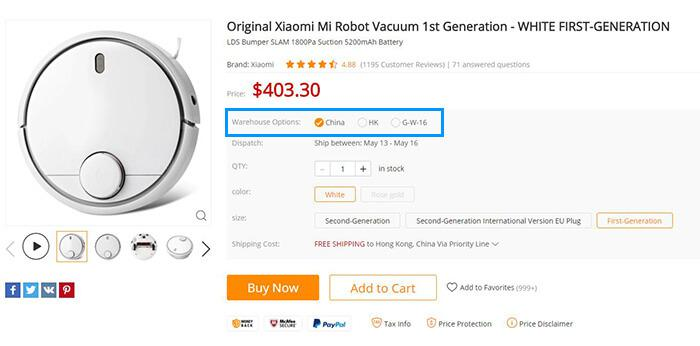 Xiaomi mi Robot Vacuum warehouse options