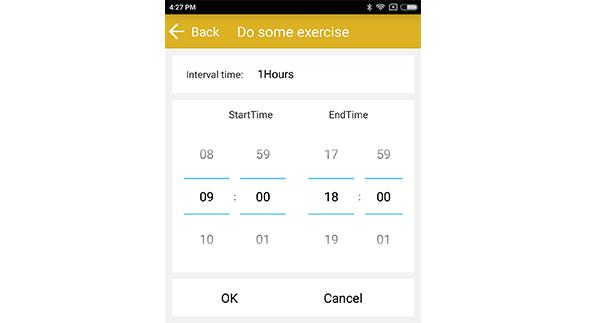 sedentary reminder function of Zeblaze ZeBand