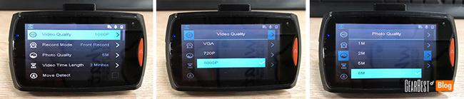 select video quality of Dome G30B car DVR