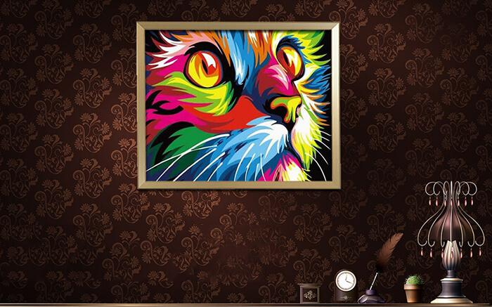 Colorful Cat Face Digital Oil Painting