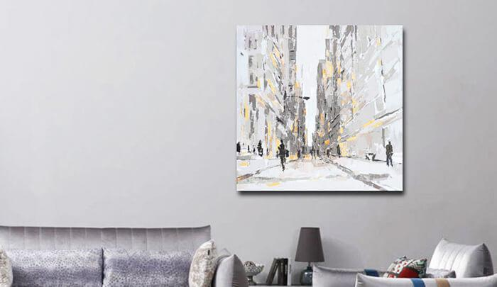 Canvas Abstract Building Oil Painting