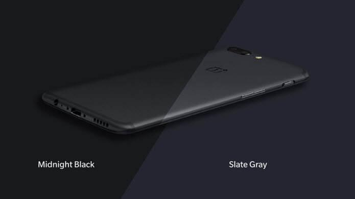 the two colors of OnePlus 5: midnighr blck and slate gray