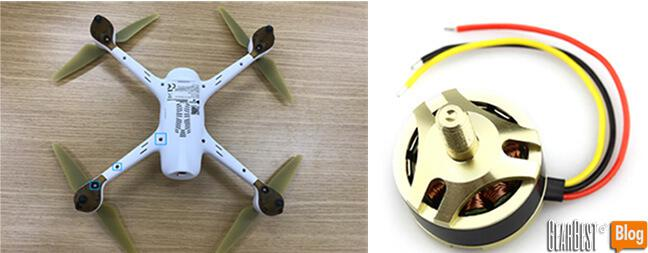the back of Hubsan H501S X4 RC Quadcopter and Hubsan H501S X4 motor