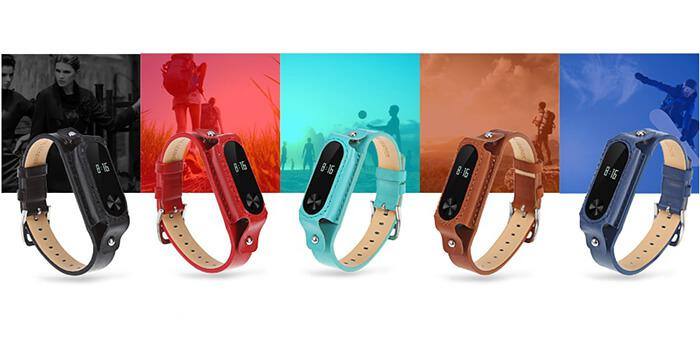 Leather watch strap for Xiaomi Mi Band 2