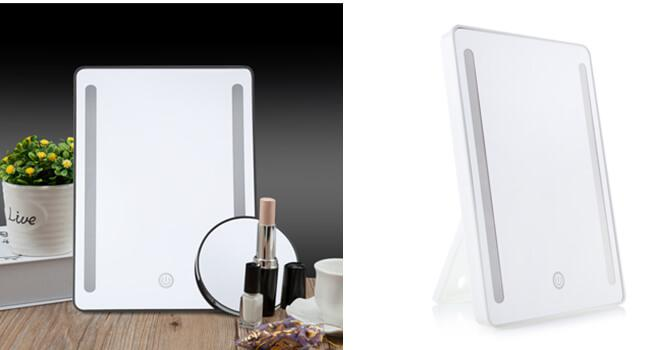 Adjustable tabletop LED touchscreens mirrors