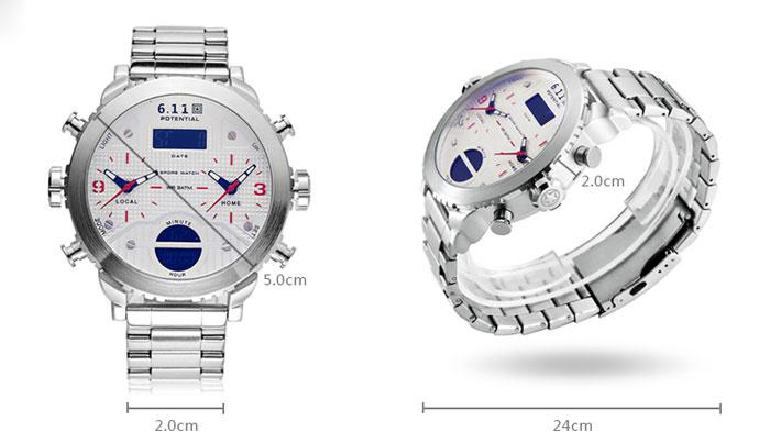 6.11 8159 Fashionable Dual Time Zone Men Watch
