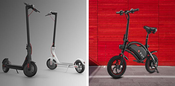 F-wheel DYU Bike vs. Xiaomi M365 Scooter design
