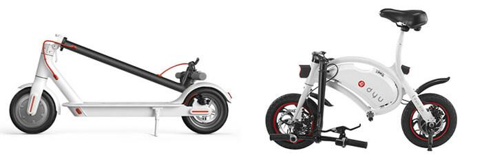 F-wheel DYU Bike vs. Xiaomi M365 Scooter folding design