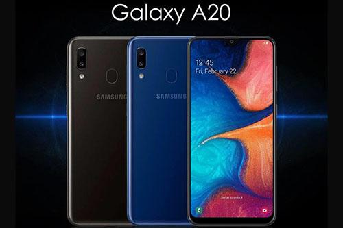 Samsung Galaxy A20 with dual camera and rear-mounted fingerprint