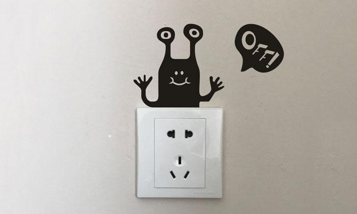 Funny Alien Switch Wall Sticker