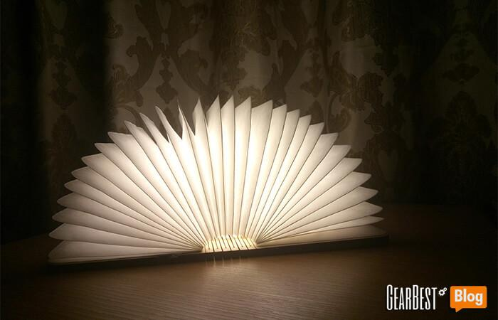 the soft glowing light of book lamp
