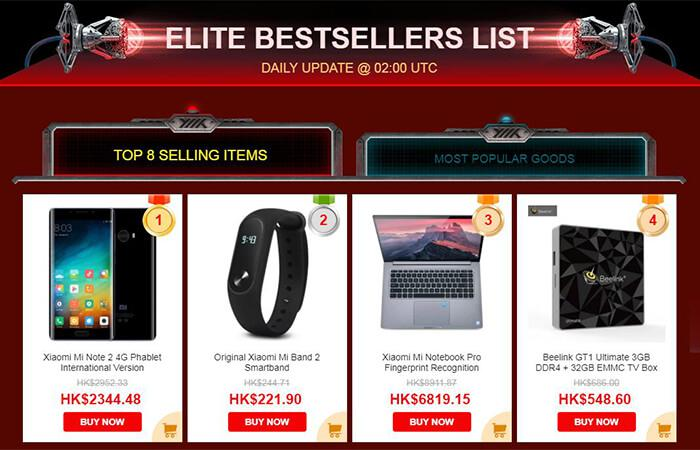 Elite bestsellers list of Black Friday