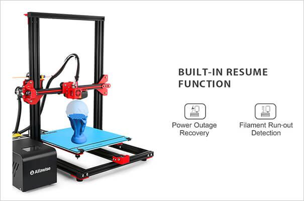 the built-in resume function on Alfawise U20 3D printer