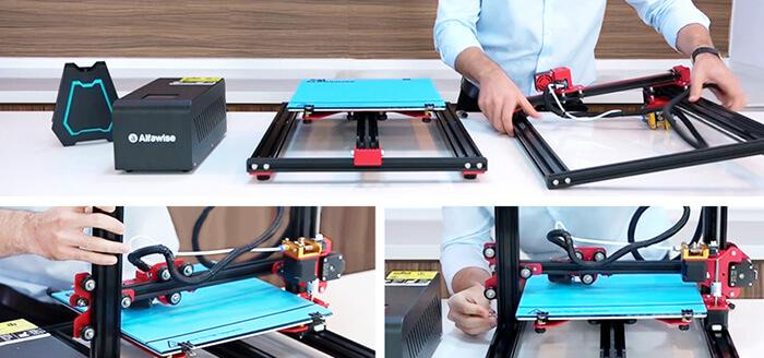 Alfawise U20 3D printer's 5-minute easy assembly