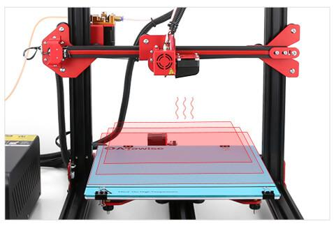 the powerful heated bed on Alfawise U20 3D printer