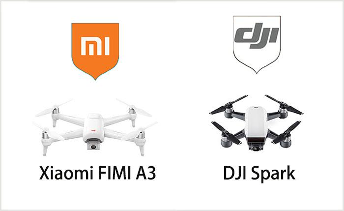 the design of Xiaomi FIMI A3 vs. DJI Spark