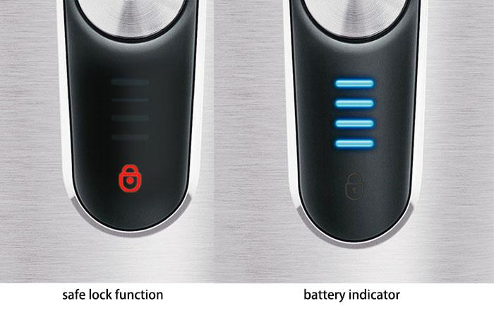 the safe lock function and battery indicator
