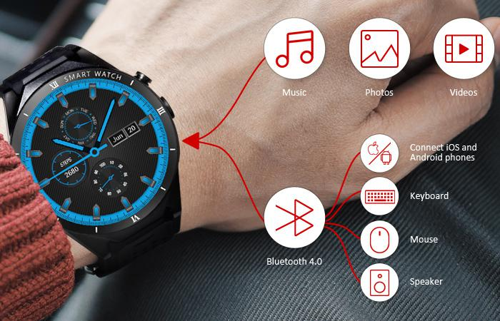 the Bluetooth 4.0 and multimedia player of Alfawise KW88 Pro 3G Smartwatch Phone