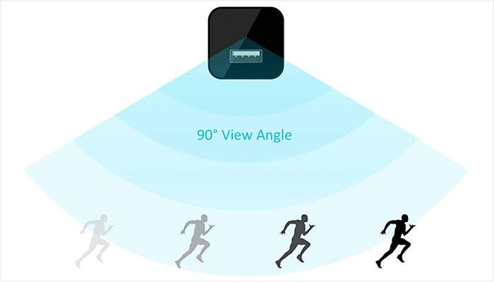 90-degree view angle motion detection