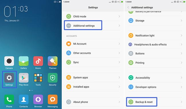 Xiaomi Redmi Note 2 Factory data reset