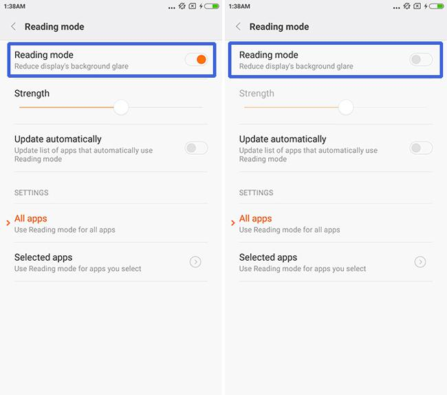 turn off Xiaomi Redmi Note 2 reading mode