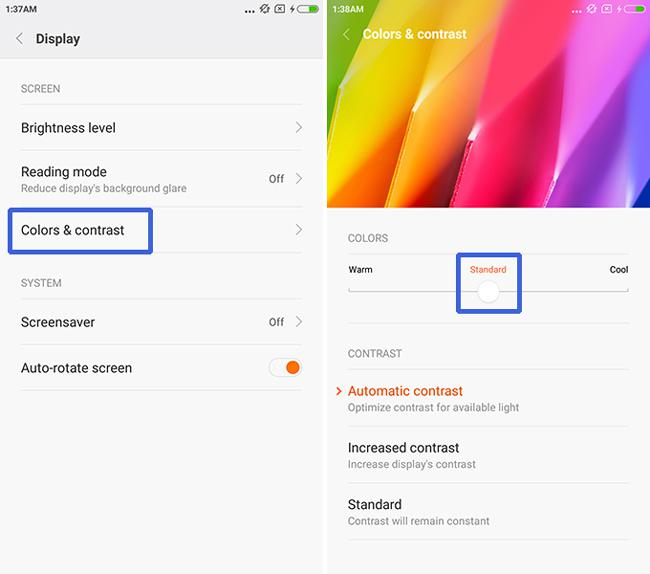 change Xiaomi Redmi Note 2's display color and saturation