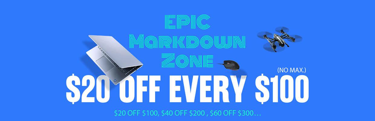 epic markdown sale $20 off every $100